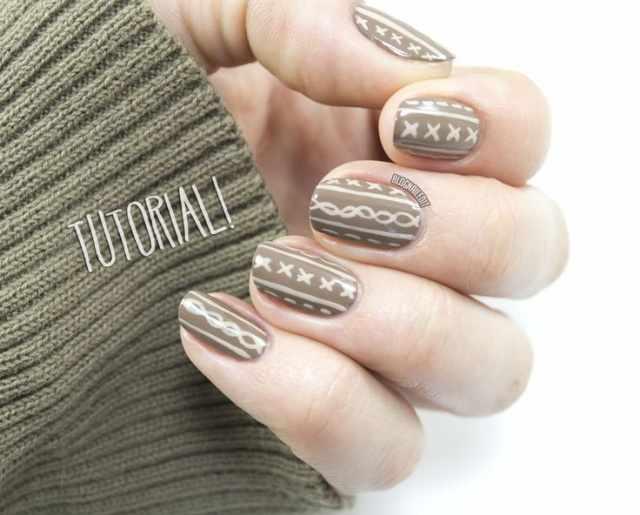 winter manicure with a pattern sweater зимний дизайн ногтей с изображением текстуры свитера 2015 -2016 крестики
