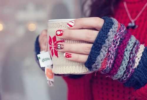 winter manicure with a pattern sweater зимний дизайн ногтей с изображением текстуры свитера 2015 -2016 на короткие ногти