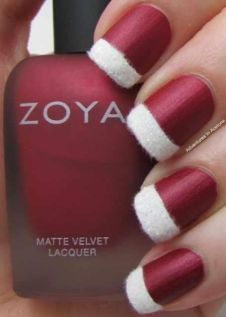 дизайн бархатных ногтей белый velvet nail design