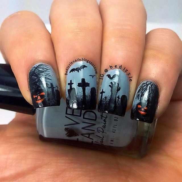 дизайн ногтей на праздник хэллоуин