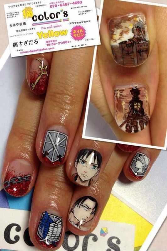design nail anime анимешный дизайн ногтей парень