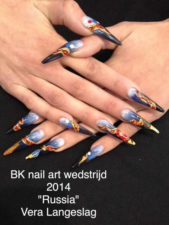 модный дизайн ногтей от чемпионов 2014 design of extension of long nails