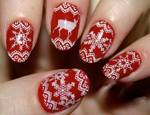 winter manicure with a pattern sweater зимний дизайн ногтей с изображением текстуры свитера 2015 -2016 кружевные снежинки
