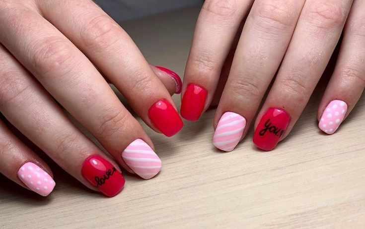 Маникюр красный с розовым