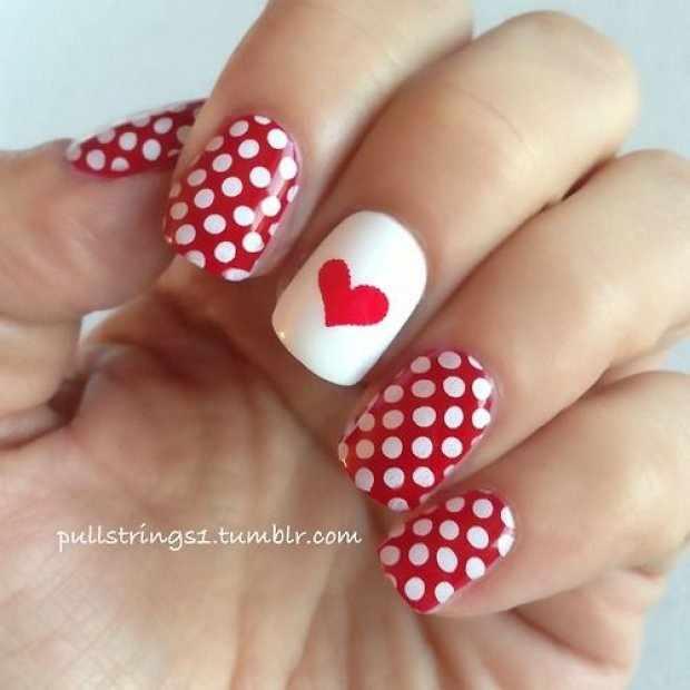 beautiful red manicure white heart красно белый маникюр в горошек с сердечком