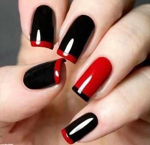 red black manicure красно чёрный дизайн ногтей глянцевый лак