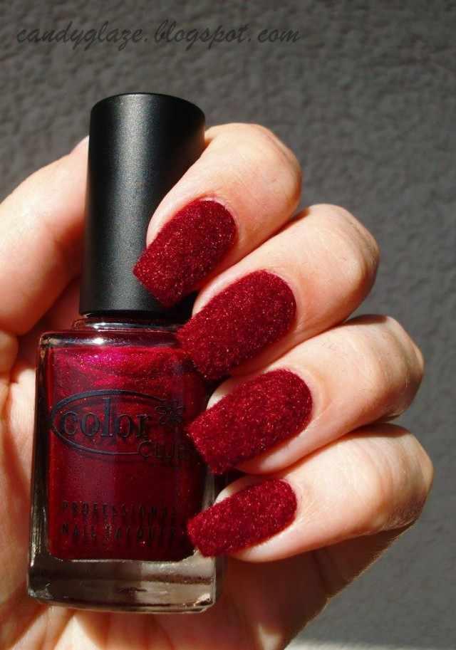 дизайн бархатных ногтей красный velvet nail design