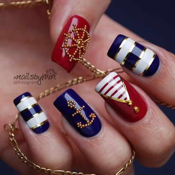 design nails ancor маникюр с рисунком якоря