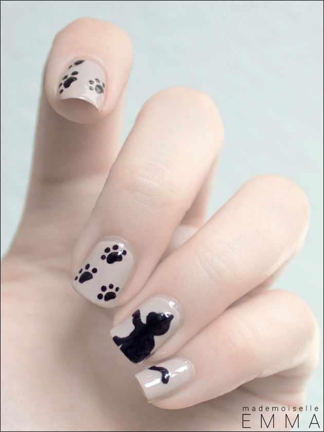 дизайн ногтей животные котёнок