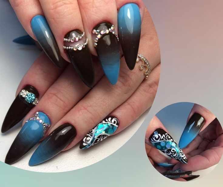 аквариумный дизайн наращенных ногтей