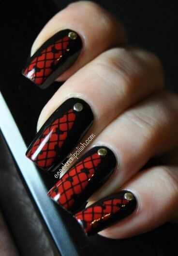 ногти вуаль колготки кружева красные nail design lace