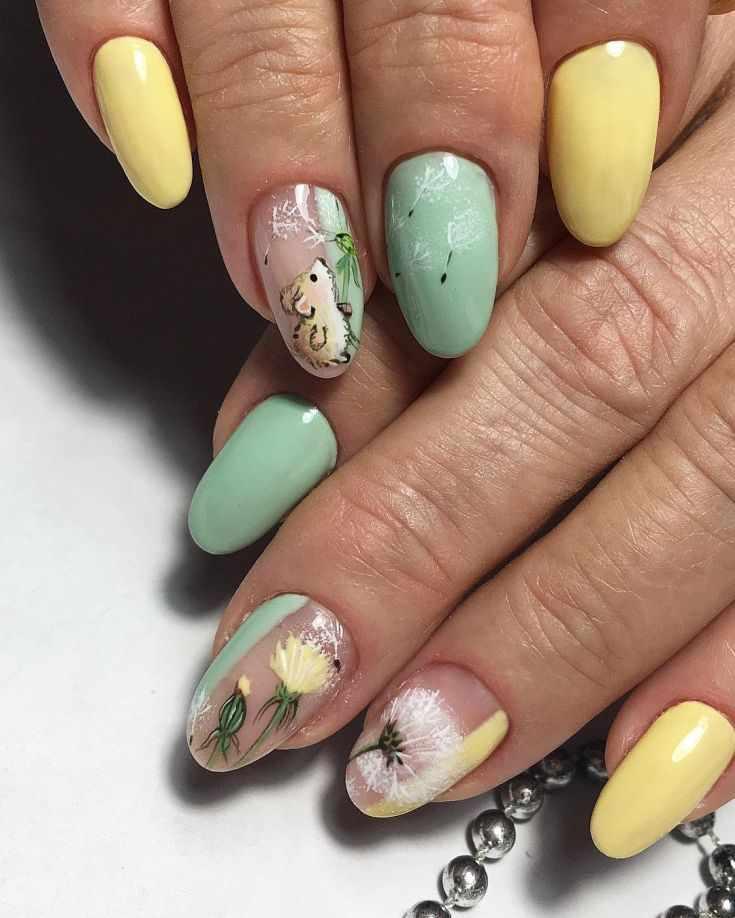 Весенний маникюр одуванчики на ногтях