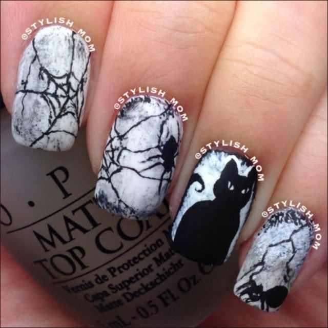 дизайн ногтей на праздник хэллоуин черная кошка