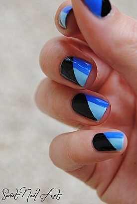 маникюр черно синего цвета