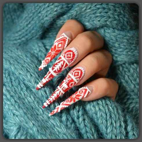 beautiful red manicure white acrilic красно белый маникюр с акрилом