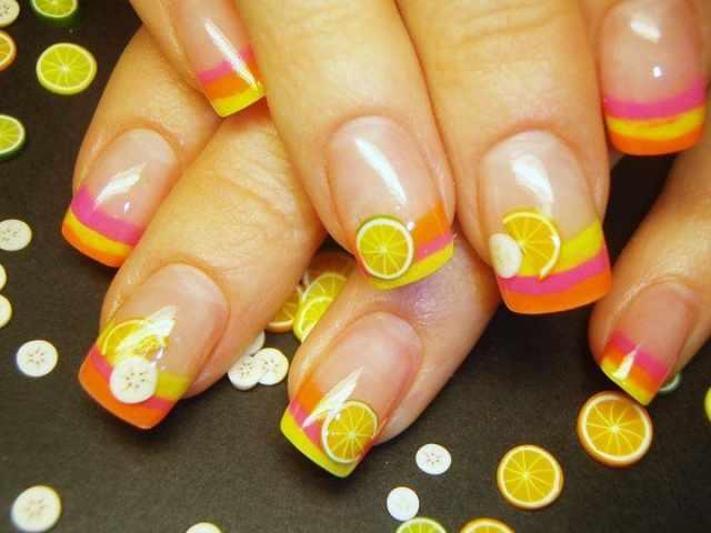 дизайн ногтей с фимо апельсинки nail design Fruit
