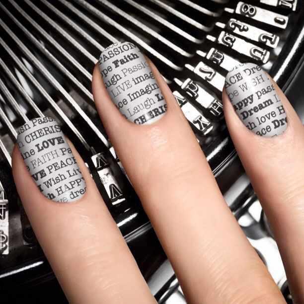 газетный дизайн ногтей печатная машинка Newspaper nail design