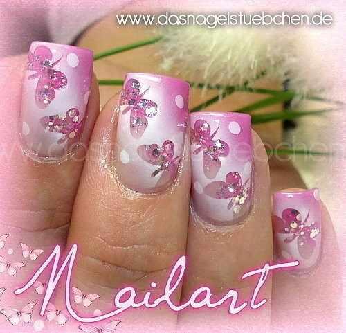 nail design airbrush дизайн ногтей аэрография розовый