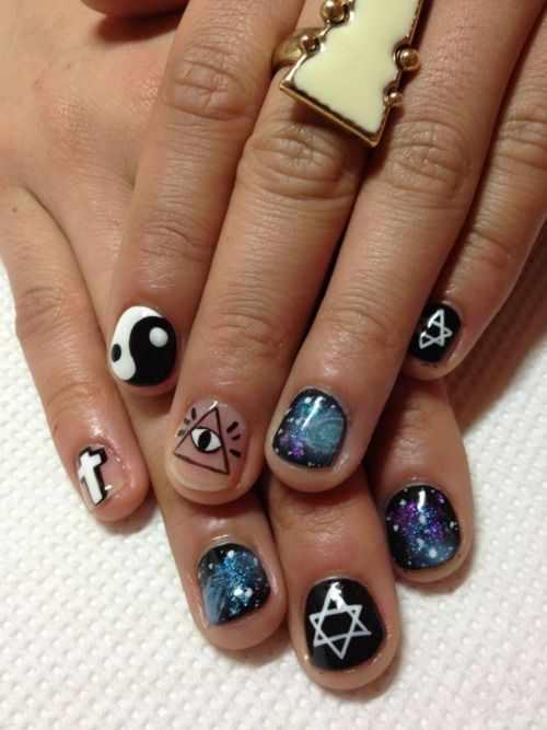 nails yin yang Star of David, space, cross, eye in the triangle
