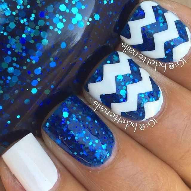 геометрический дизайн ногтей зиг-заг