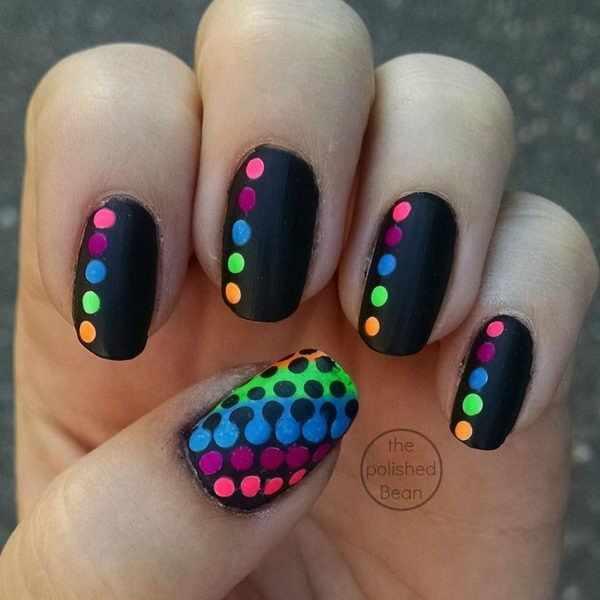 дизайн ногтей точками дотс чёрные