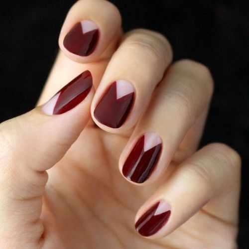 дизайн ногтей цвета бордо кровь