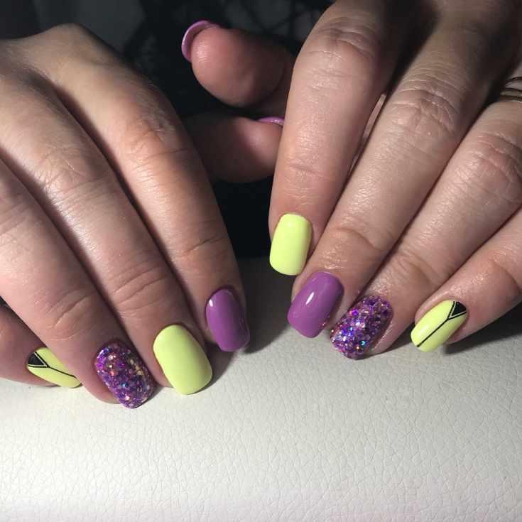 Маникюр жёлтый с фиолетовым