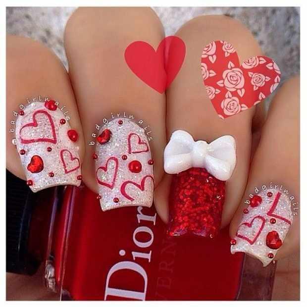 beautiful red manicure white heart красно белый маникюр валентинка