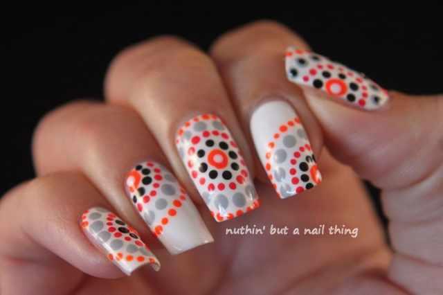 дизайн ногтей точками дотс оранжевые