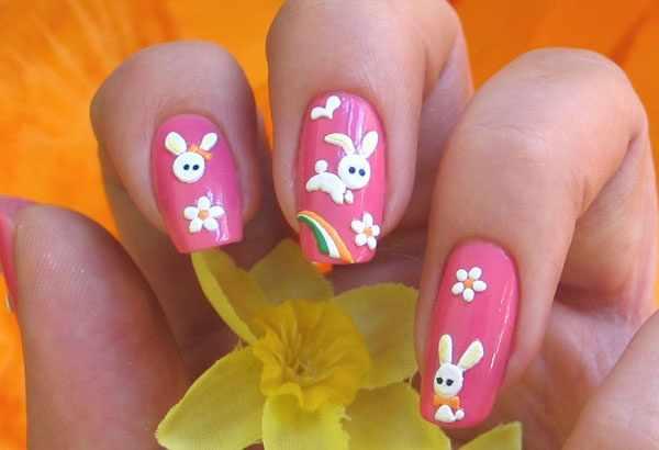 trendy nail design 2015 цветок кролик