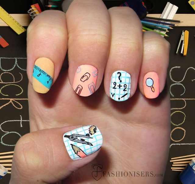 школьный дизайн ногтей циркуль
