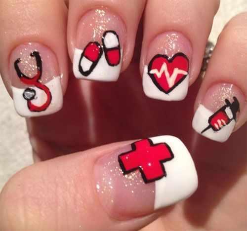 beautiful red manicure whitephysician pills syringe красно белый маникюр маникюр для врача или мед сестры