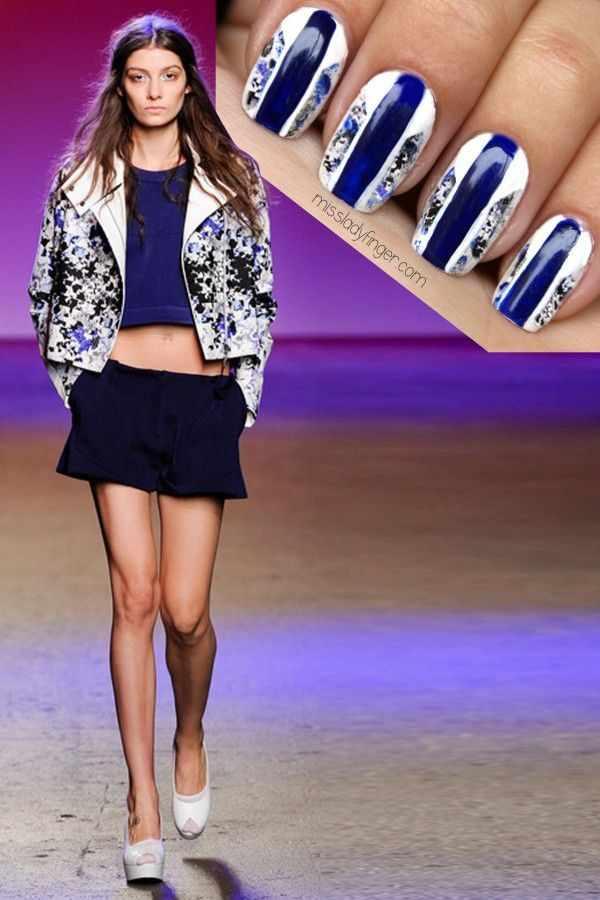 manicure under a blue dress маникюр под сине-белое платье