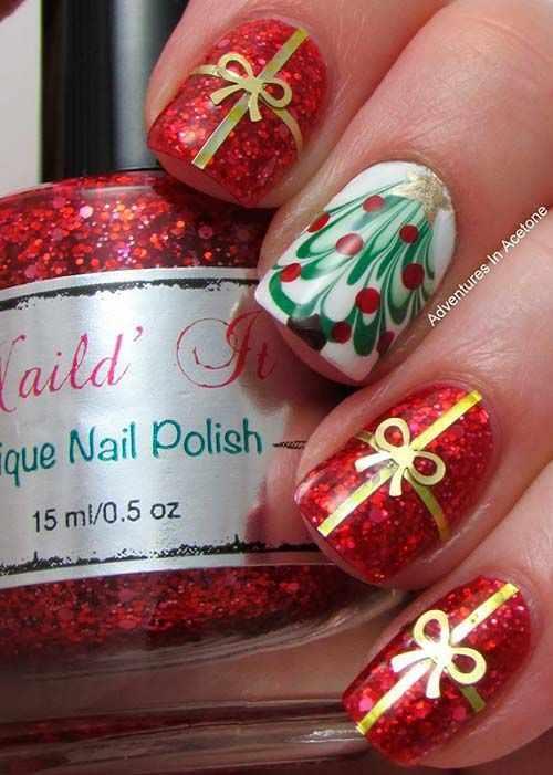 Red golden manicure маникюр красно золотого цвета