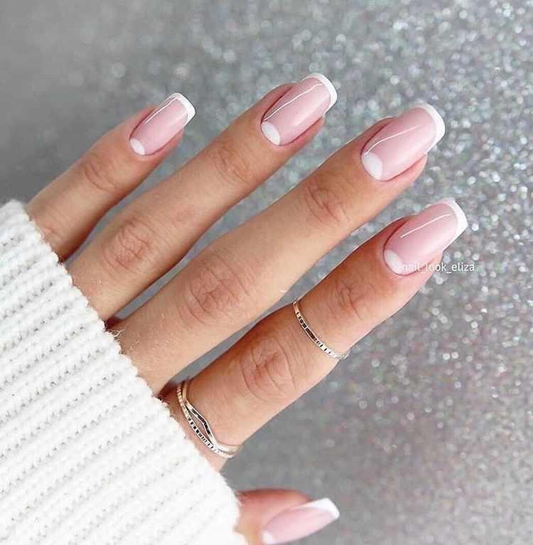 Белый френч на ногтях 300 фото новинок