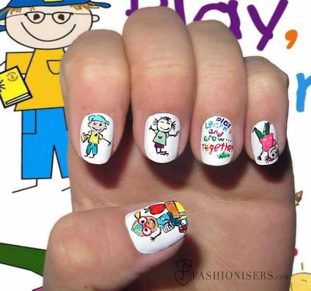 школьный дизайн ногтей первоклашки