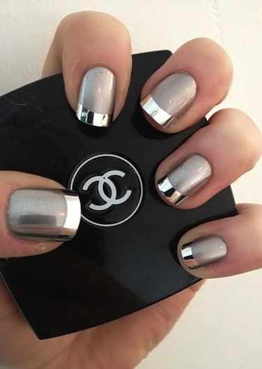дизайн ногтей шанель серебрянный френч