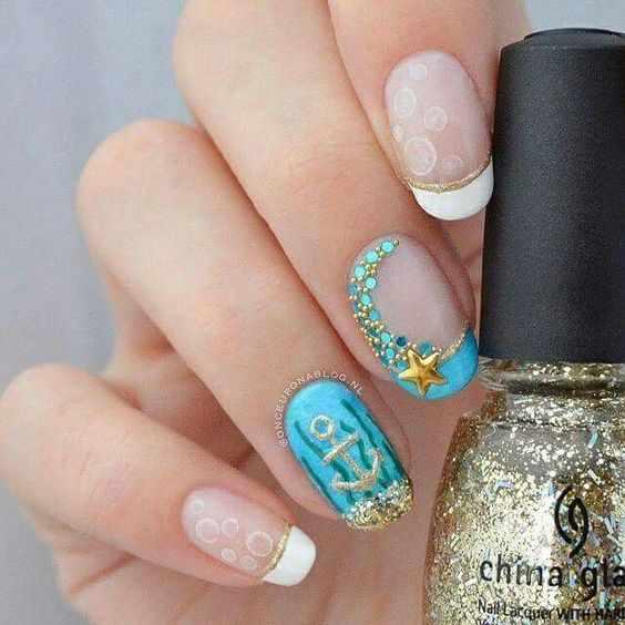sea design nails красивый морской маникюр