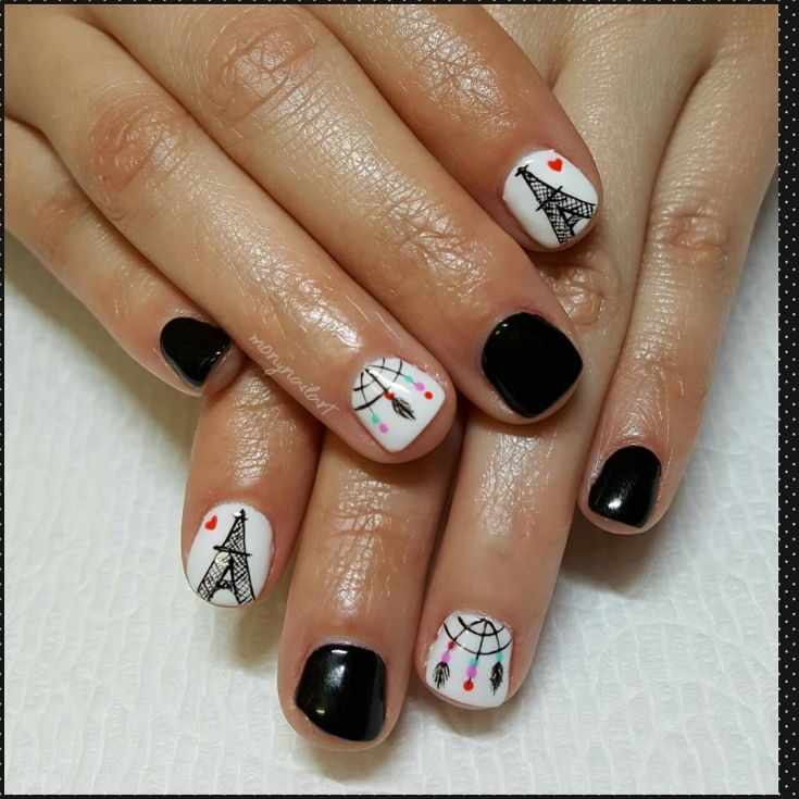 эйфелевая башня на ногтях