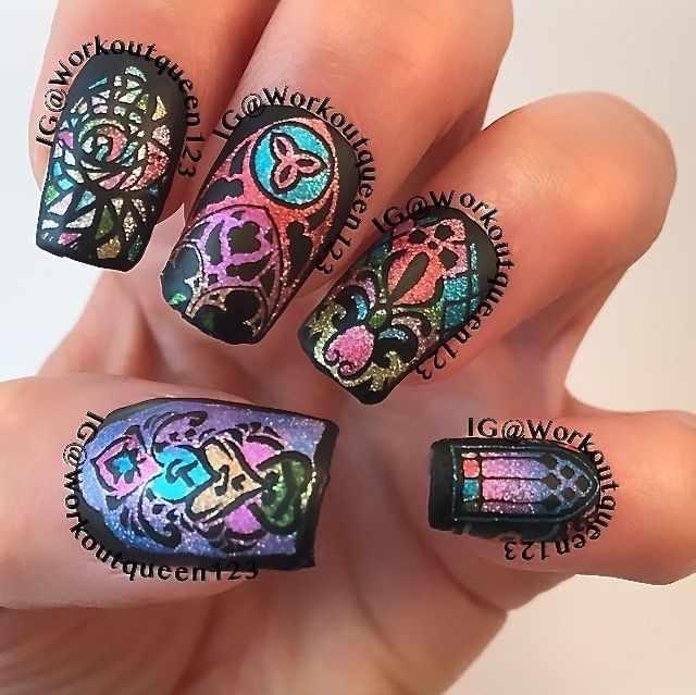 stained glass manicure витражный дизайн ногтей