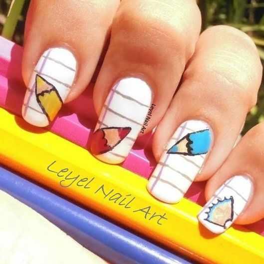 школьный дизайн ногтей школьная тетрадь