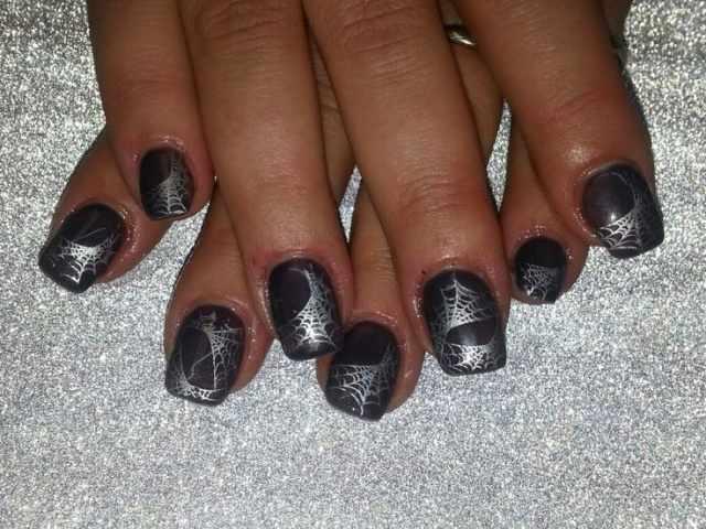 дизайн ногтей на праздник хэллоуин череп Halloween Nail Design