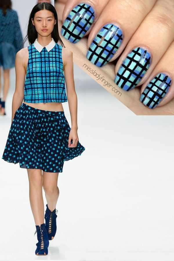 manicure under a blue dress маникюр под синее платье квадраты