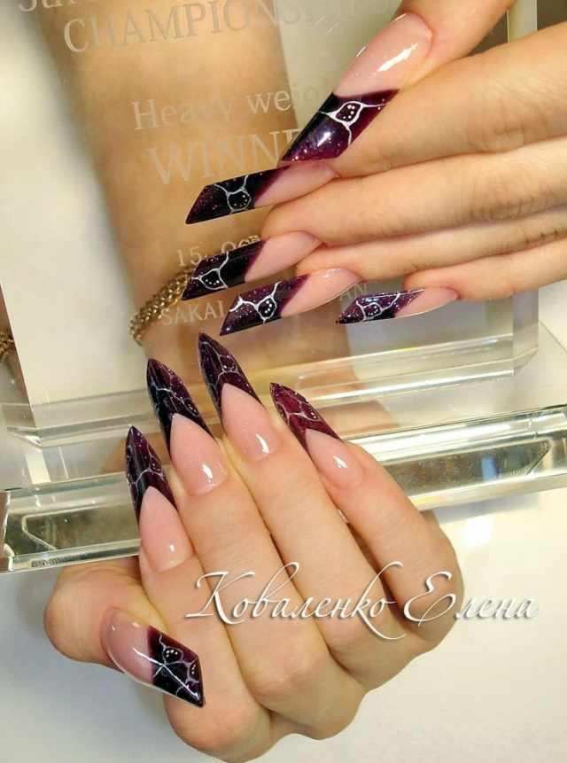 модный дизайн ногтей от чемпионов косые design of extension of long nails