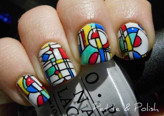 геометрический дизайн ногтей супер абстракция