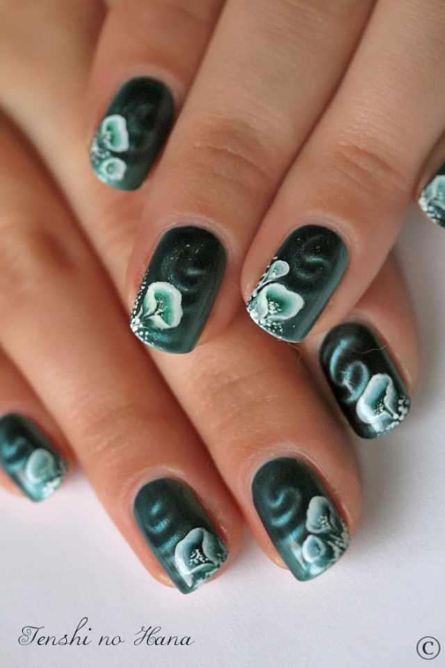 nail design airbrush дизайн ногтей аэрография тёмно зелёный