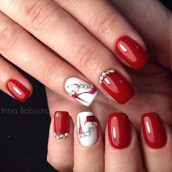 beautiful red manicure white shoe красно белый маникюр туфелька