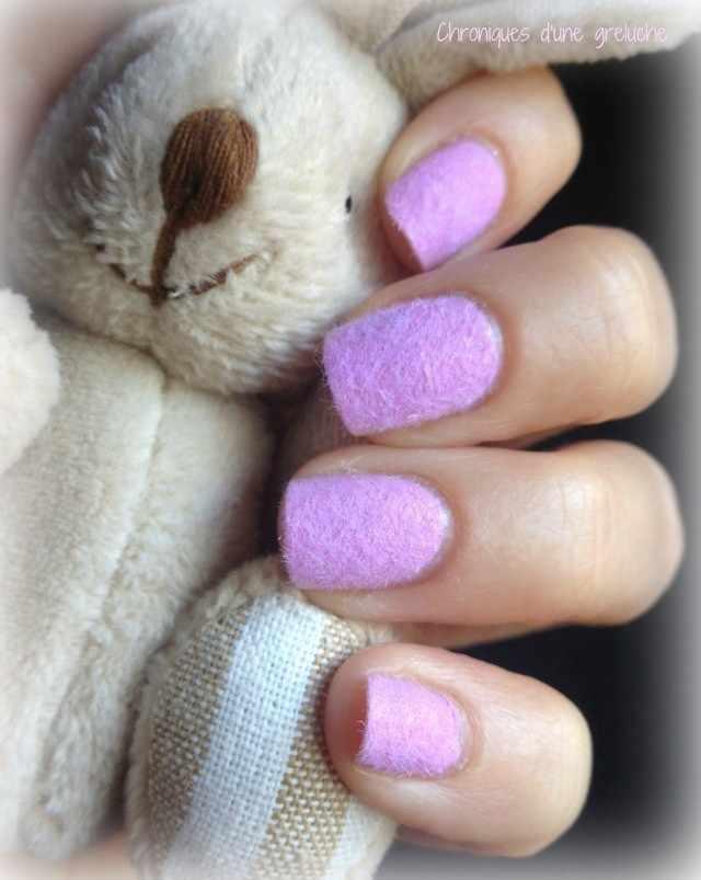 дизайн бархатных ногтей заяц velvet nail design