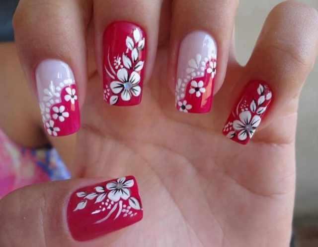 beautiful red manicure white красно белый маникюр нежный маникюр цветка