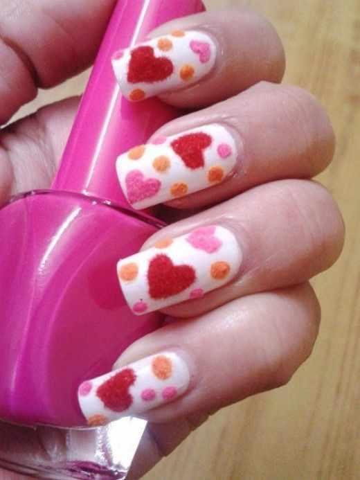 дизайн бархатных ногтей валентинки velvet nail design